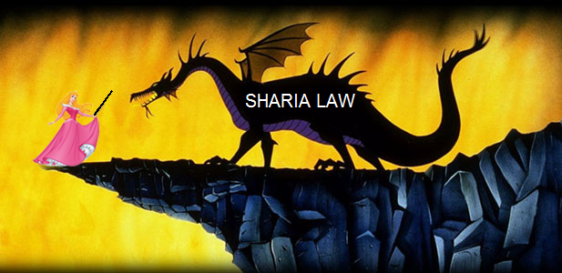 Sharia Law being poked in the eye by Snow White.