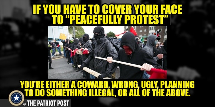 If you have to cover your face to «peacefully protest», you're either a coward, ugly, planning to do something illegal, or all of the above.