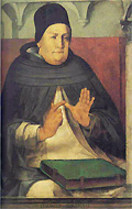 Saint Thomas Aquinas showing off his Philosopher's Glove.
