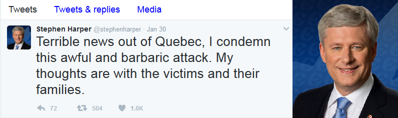 Reaction of Stephen Harper, ex-Prime Minister of Canada: «My thoughts are with the victims and their families».