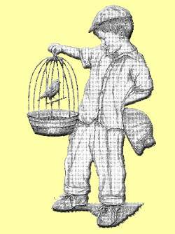 Boy holding canary in birdcage