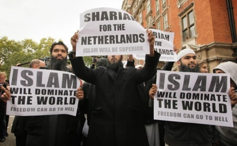 Pro-Sharia demonstration in the Netherlands.