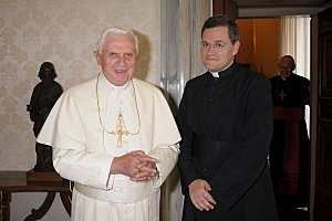 Pope Benedict XVI and Fr. John Berg, Superior General of the FSSP