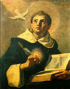 Saint Thomas d'Aquin priant avant son travail intellectuel.