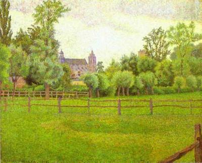 Lucien Pissarro. The Church at Gisors.